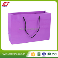 Top grade fashion purple kraft paper shopping bag