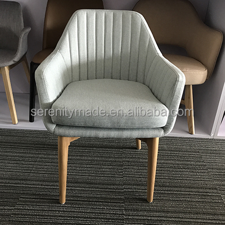 Foshan factory restaurant furniture upholstered dining rom chair with wooden leg
