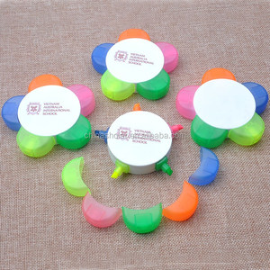 Multicolored 5 in 1 flower shape non toxic highlighter pen