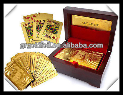 2014 hot sale 24k gold plated Gold foil trading playing cards