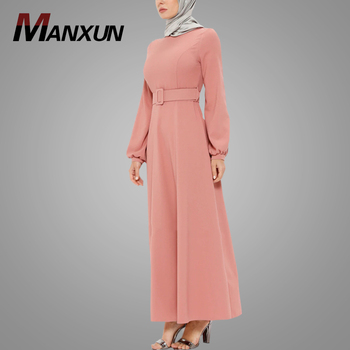 2018 Elegant Fashion Cheap Dress With Belt Kaftan Abaya Islamic Clothing Dubai Abaya