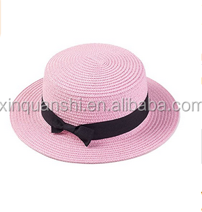 Straw Hat Women Flat Top Sun Hat Girl Bow Straw Fedora Panama Hat Boater Cap 8e1fefb0bdd