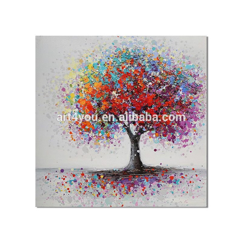Hand Made Oil Painting On Canvas Red Flower Tree Oil Painting