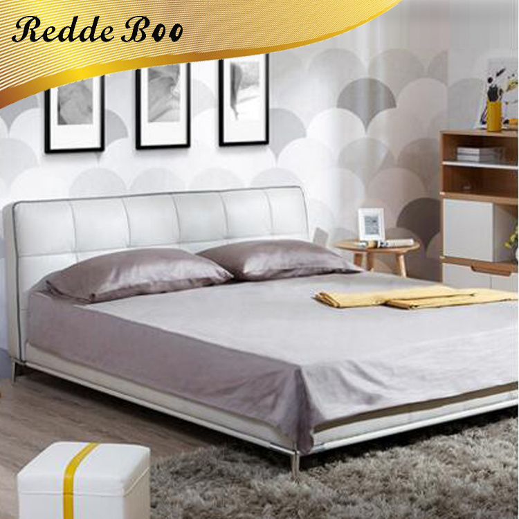 Modern Design King Size Wooden Bed Cow Leather Bedroom Furniture B2604