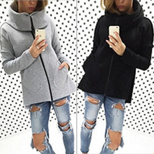 New Clothes Autumn Fall Turtle Neck Soild Color Fashion Women Casual Hoodie Zipper With Pocket Sweatershirt  Long Sleeve Jackets