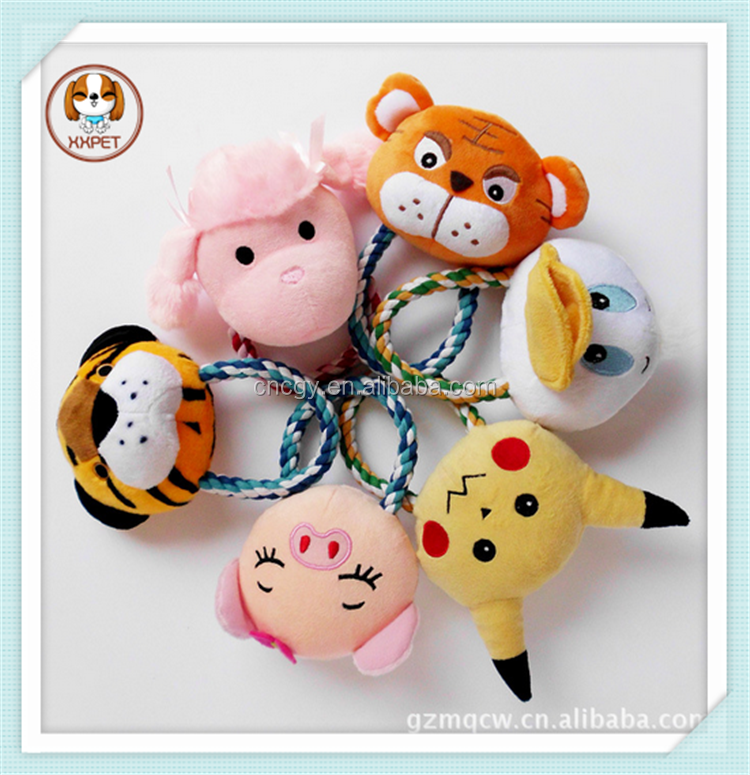 China Supplier Direct Wholesale Lovely New Pet Products Animal Heads Pet Chew Rope Toy With six Colors