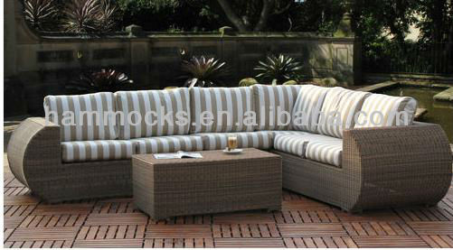 Outdoor Resin Wicker Sectional Sofa Lounge Set Sunbrella Cushion