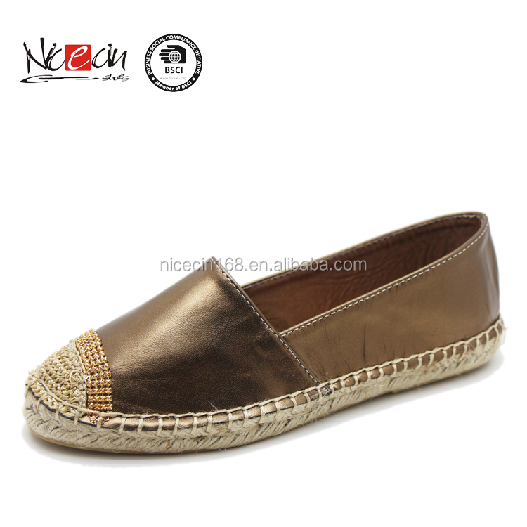 2017 Fashionable cheap ladies casual shoes sneakers leather espadrilles