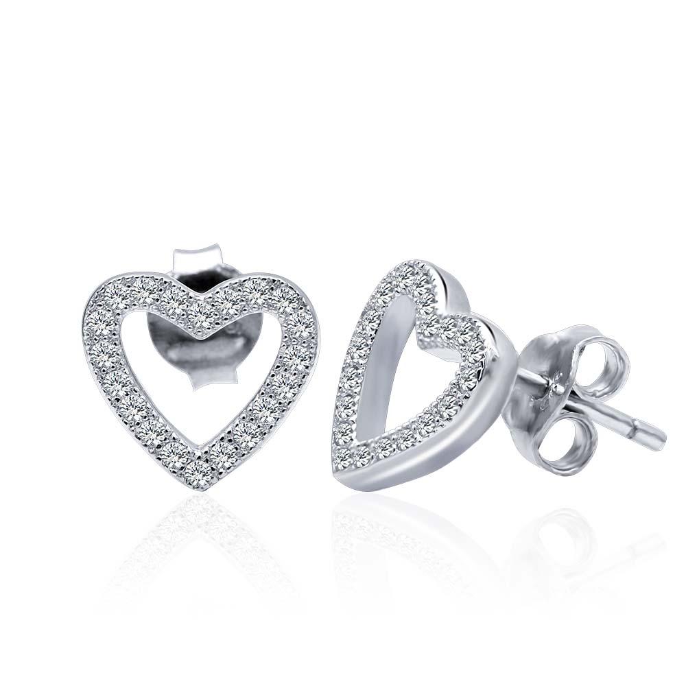POLIVA Мода простой дизайн 925 пробы серебряные ювелирные изделия, Маленький милый сердце любовь CZ серьги гвоздики