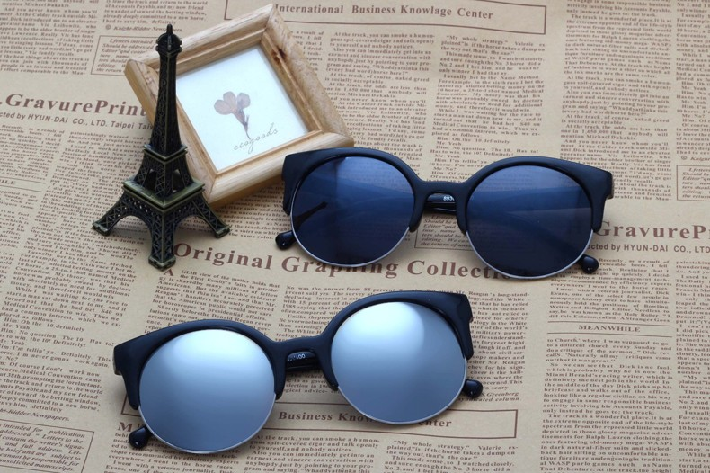 2016 Summer Style Cat Eye Sunglasses Women Eyewear Semi-Rimless Mirror Sunglasses Super Round Circle Cat Eye Sun glasses CC0541