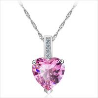 Elegant pink cz heart necklace for women wedding jewelry