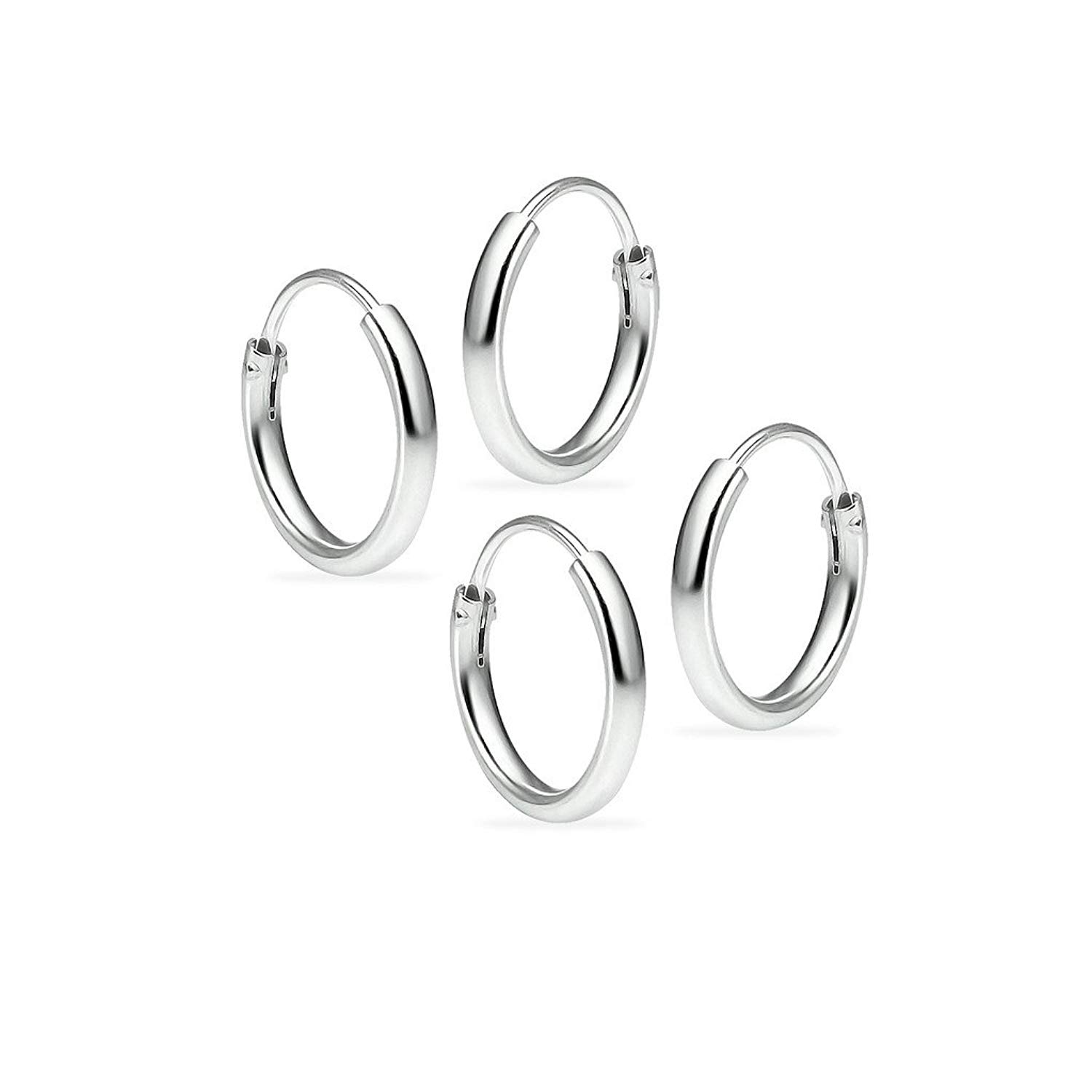Get Quotations Set Of Two Sterling Silver Small Endless 1 2mm X 10mm Lightweight Thin Round Uni Hoop