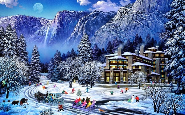 Peaks Wood People Hotel Winter snow track 4-Size Home Decoration Canvas Poster Print