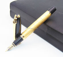 High quality luxury gold plated black ink fountain pen