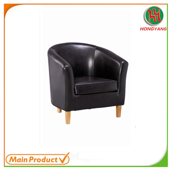 Tub Chair Pu Leather Wooden Frame Club Hy T1402