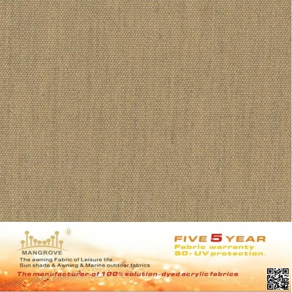 Ochre yellow of 100% solution dyed acrylic fabric which is used for the awning, shade, boat tops, sail covers, outdoor furniture