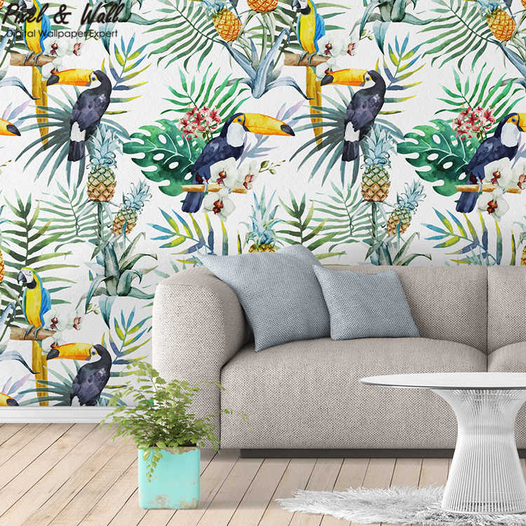 Hand-painted tropical Parrots non woven wallpaper designs wallpaper for bedroom <strong>walls</strong> PW201801300408