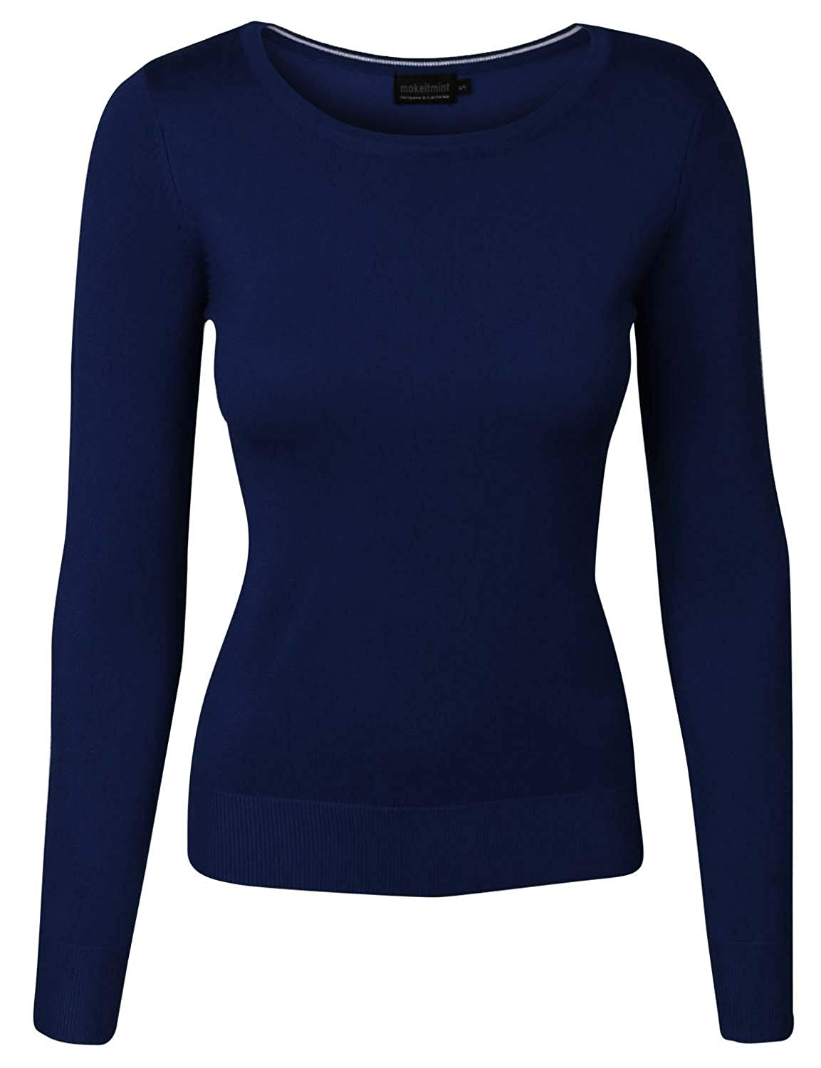 makeitmint Women's Solid Round V-Neck Soft Knit Long Sleeve Sweater [S-3XL]