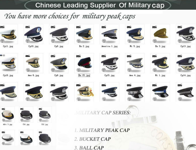 Custom made blue gold embroidery military lieutenant military cap