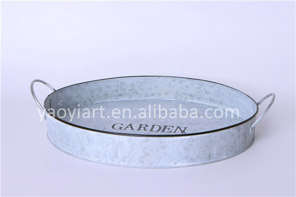 Garden Series Galvanized Metal Tray with Handles