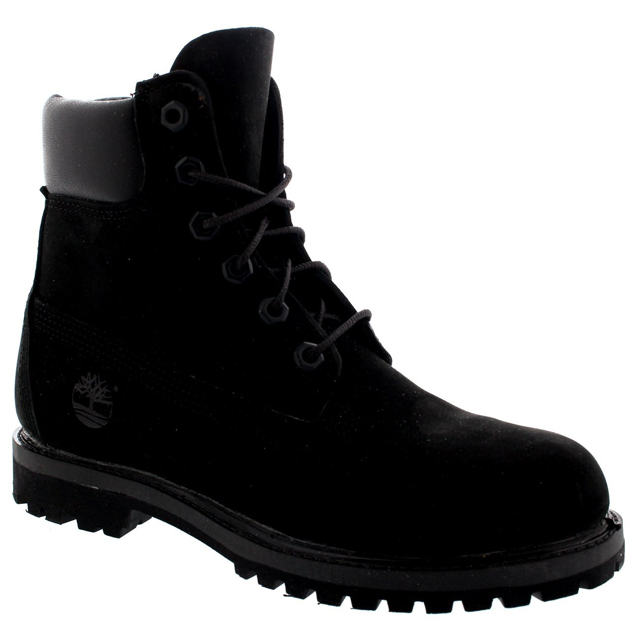 Womens Timberland 6 Inch Premium Suede Black Lace Up Ankle High Boots - Black - 7