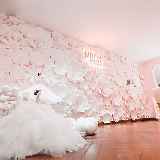 Withe paper flowers for wedding backdrops wall decoration