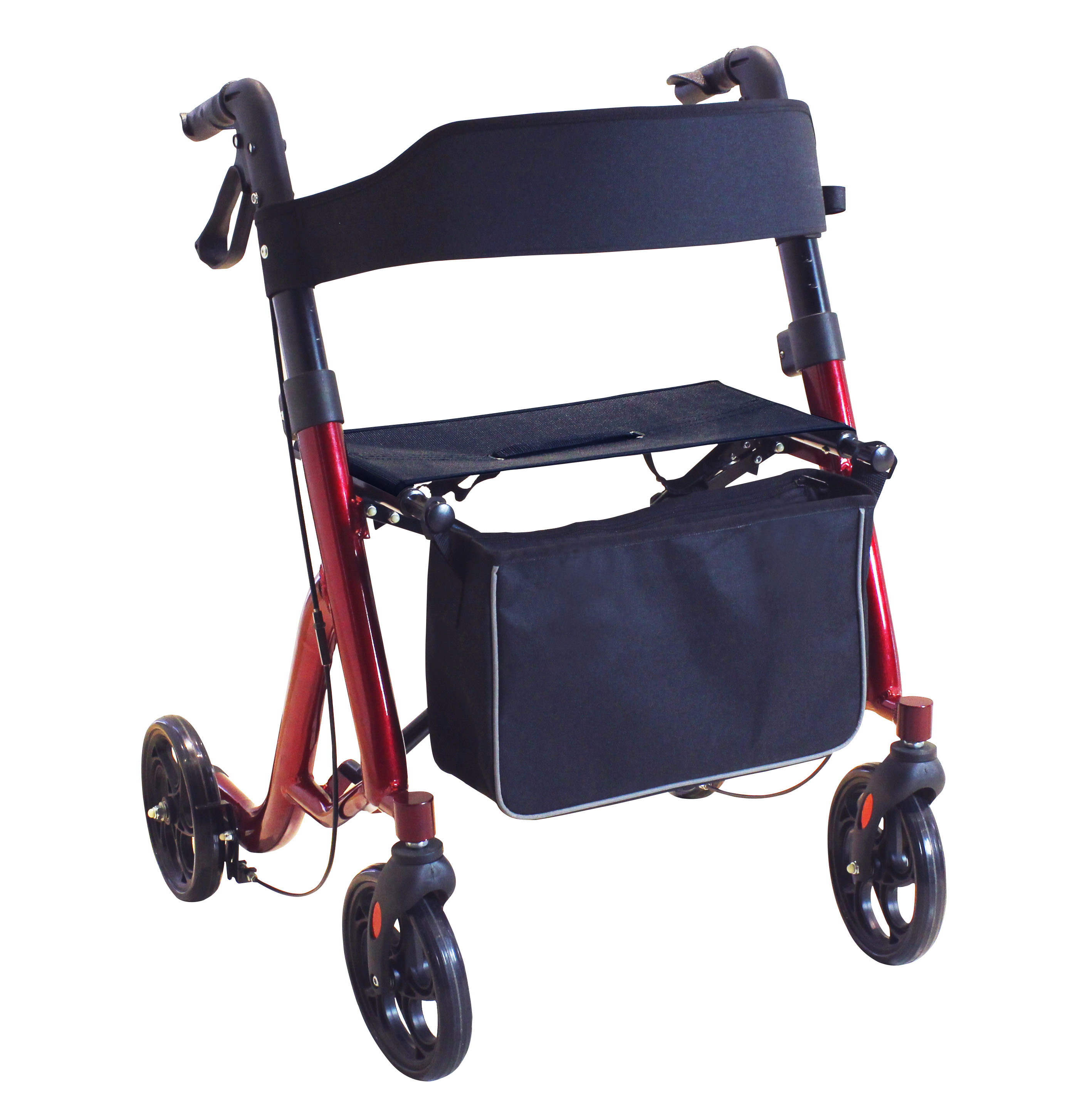 New Design Red Color Oval Tube 4 Wheels Rollator Walker with seat and shopping bag