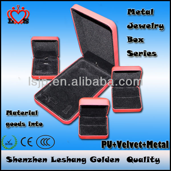 Red Iron sheet PU jewelry box for a set jewelry