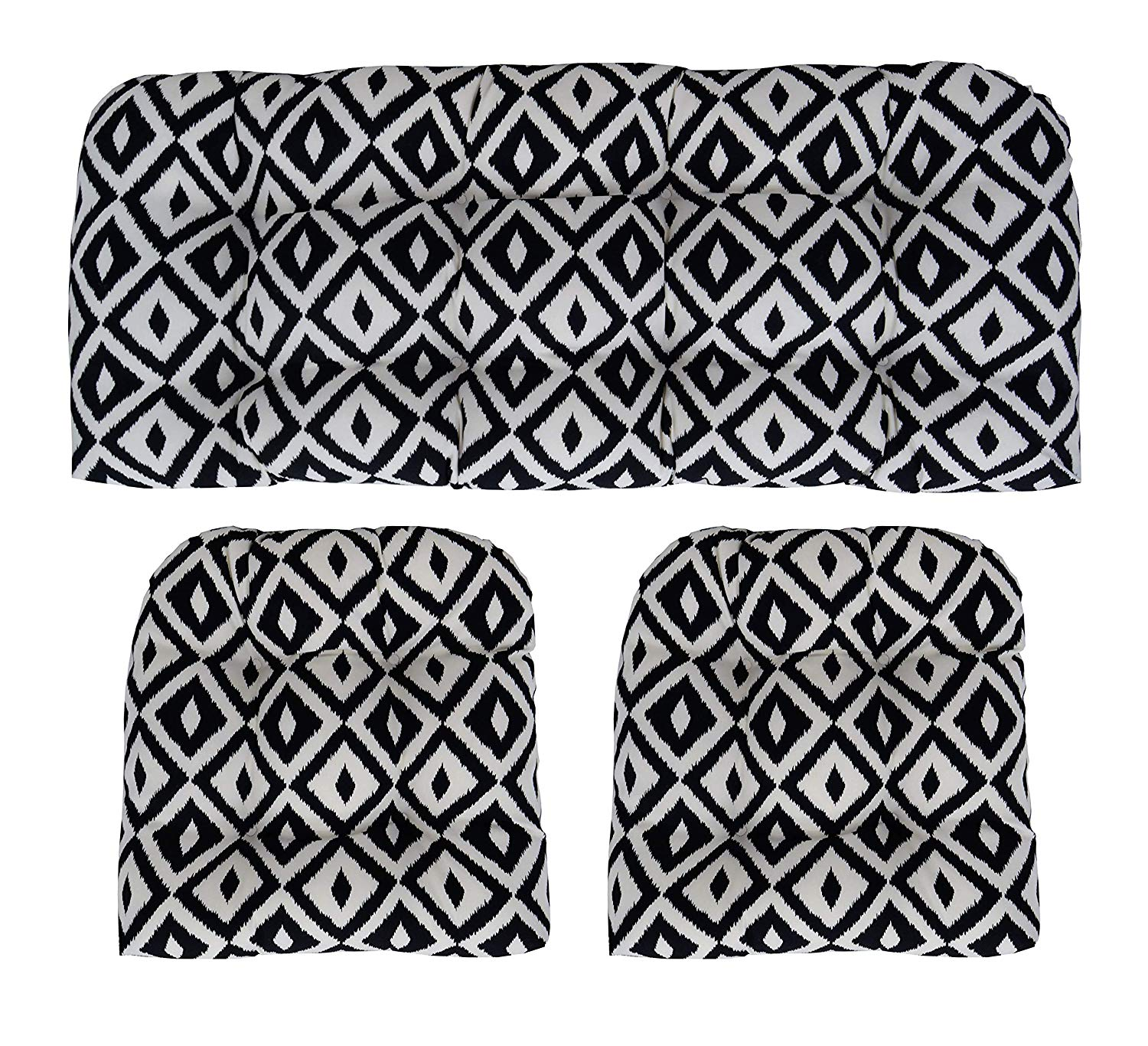 """RSH Décor Indoor Outdoor Large(44"""" W x 22"""" D & 21""""W x 21"""" D) Wicker Tufted 3 Piece Set 1 - Loveseat Settee & 2 - U - Shape Chair Cushions - Black and White Aztec Geometric Cushions"""