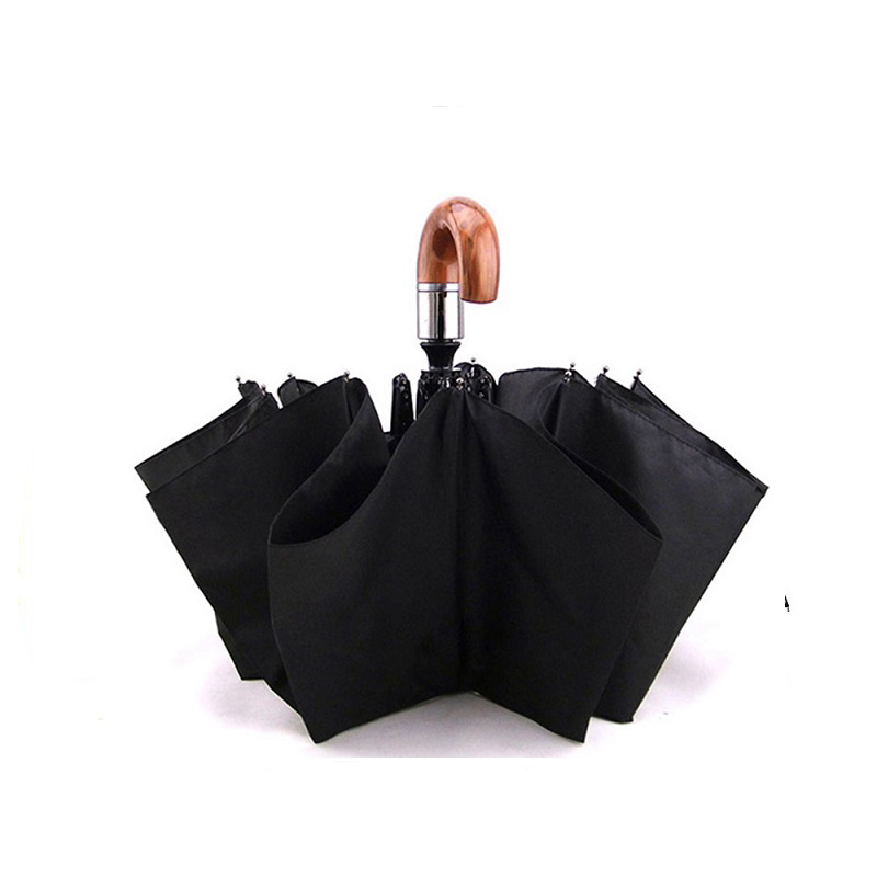 Fashion Super 10 Bone 3 Fold Automatic Foldable Golf Umbrella With Wood Elbow