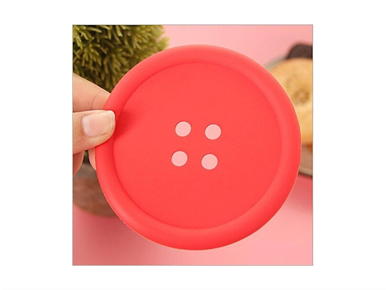 Yuchoi Perfectly Shaped Creative Cup Cushion Holder Cute Colorful Round Button Shaped Non-slip Insulated Silicone Cup Mats (Red)