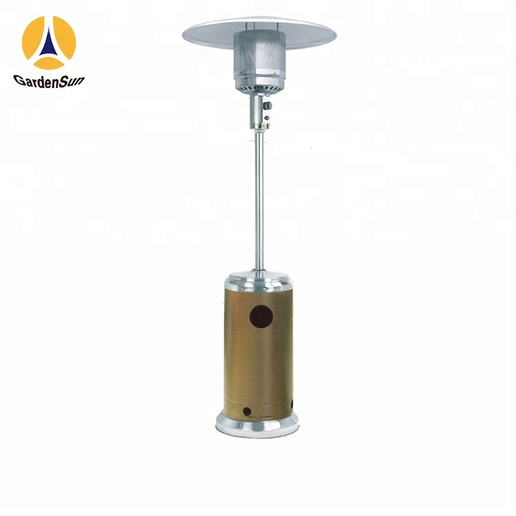 Floor Standing Electric Gas Heater Stand Up Patio Gold Hammered Hss A