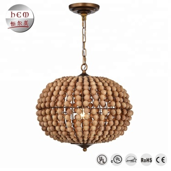 Lighting Modern Retro Round Bead Pendant Lamp Outdoor Cage Light Wooden Chandelier For High Ceilings