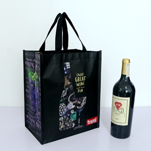 High quality laminated pp non woven wine bag 6 bottle