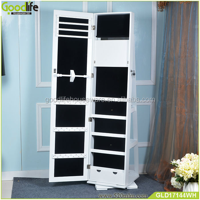 Wooden Swivel Jewelry Cabinet With Dressing Mirror