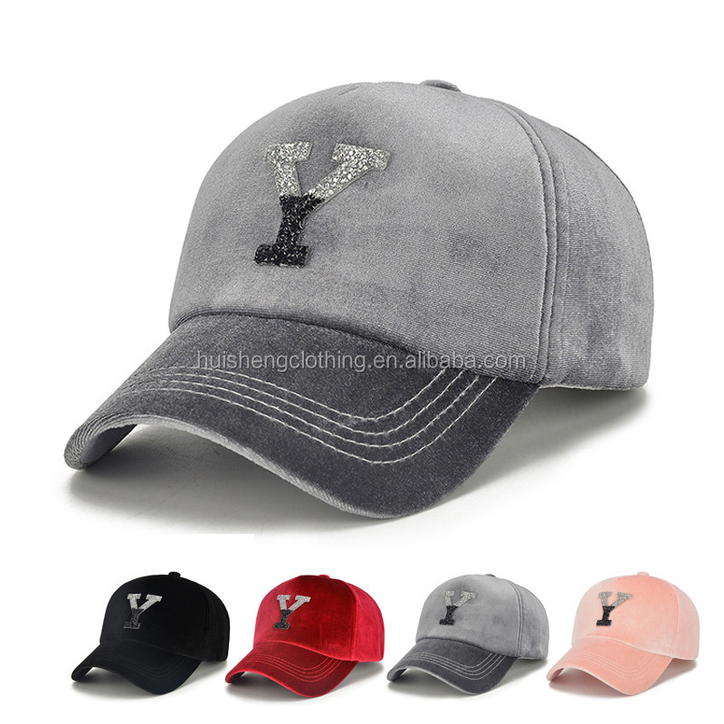 ef4a6d243 Hot Sell New Design Unisex Men Women Velvet Baseball Cap Hat With Bling  Sliver Acrylic Letter Y Hats Caps - Buy Plastic Letter Cap Hat,Baseball Hat  ...