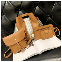 Detachable Shoulder 4 pieces Small Fashion Women Pu Leather Shoulder Tote Bag Sets