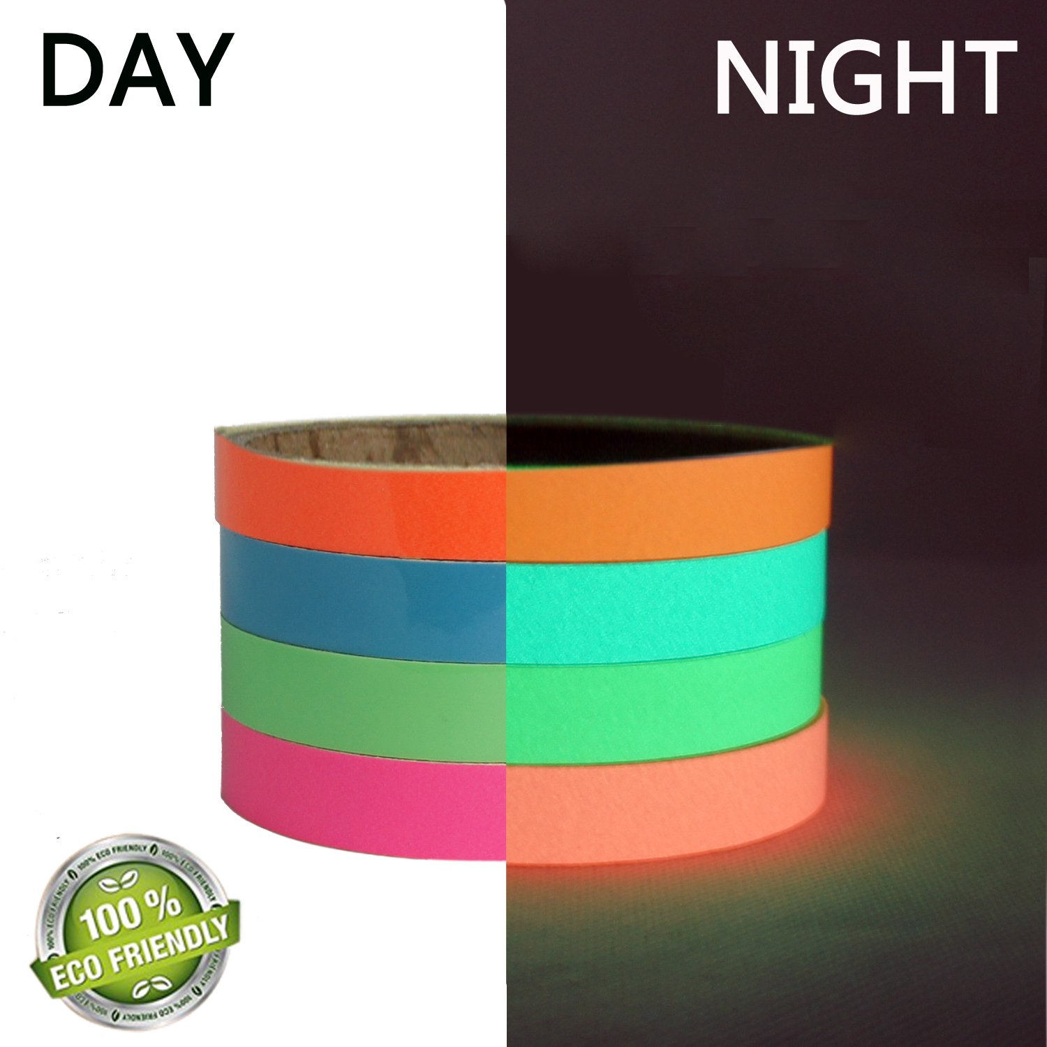 4 Rolls Luminous Tape Sticker 10 feet x 0.6 inch Removable Waterproof Photoluminescent Glow in the Dark DIY Safety Sign Tape,Use For Marking Stairs and Exits