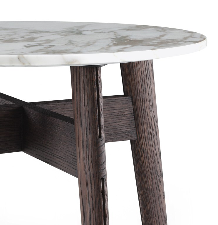 Modern design Italy import Round Natural marble top coffee table with wooden leg