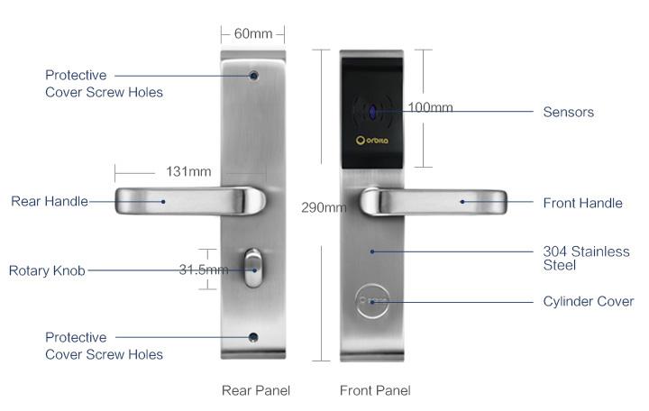 Rf Card Key Hotel Room Access Control Lock System