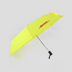 Auto open yellow advertising unbrella 3 folding umbrella