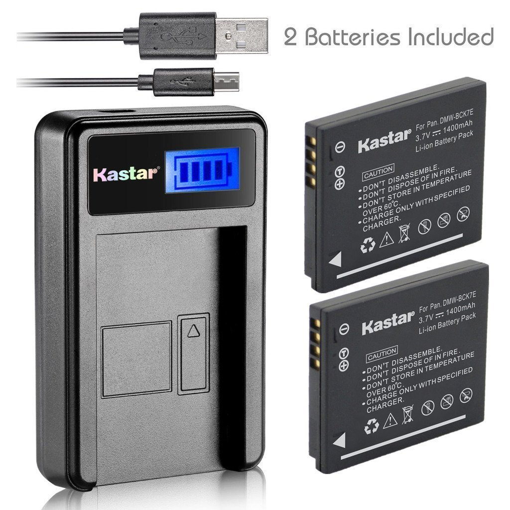 Kastar Battery 2 Pack and LCD Slim USB Charger for Panasonic DMW-BCK7 DMW-BCK7E and Lumix DMC-FS14 DMC-FS16 DMC-FS18 DMC-FS22 DMC-FS28 DMC-FS35 DMC-FS37 DMC-FS40 DMC-FS45 DMC-FT20 DMC-FT25 DMC-FX77