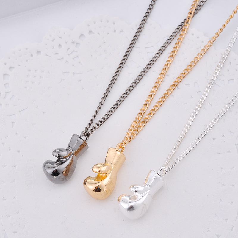 Fashion alloy Gold/Silver/Black Lovely Mini Boxing Glove Pendant Necklace match Jewelry Cool for Men Boys Women Girl Gift