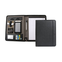 High quality a4 pu leather fashion conference file folder presentation notepad portfolio meeting folder