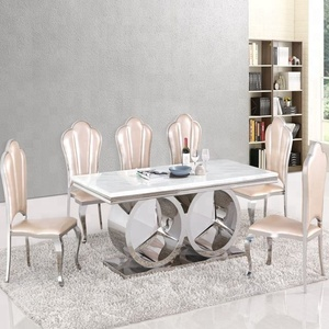 Stainless steel Dining Table Legs/Clear Glass S/S Modern Dining Room  Table/marble table top