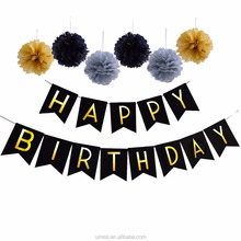 UMISS 2017 New Design Gold Silver Black Happy Birthday Party Decorations, Bunting Banner, Tissue Pom Pom Flower
