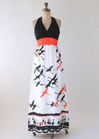 MIKA3010 Women Vintage 1970s Flock of Birds Maxi Dress Casual Vintage Clothing Dress