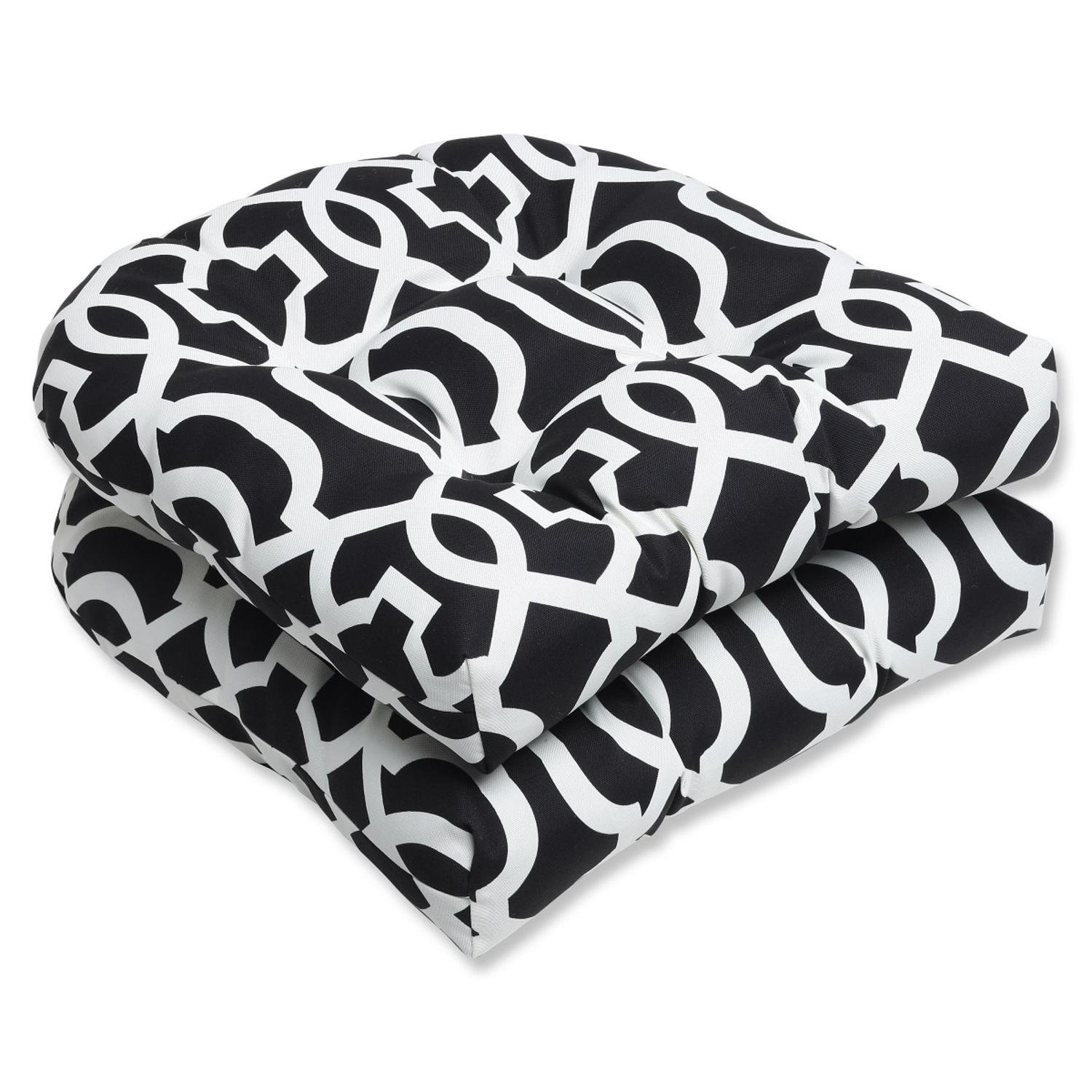 Set of 2 Labirinto Geometrico Black and White Outdoor Patio Tufted Wicker Chair Cushions 19""