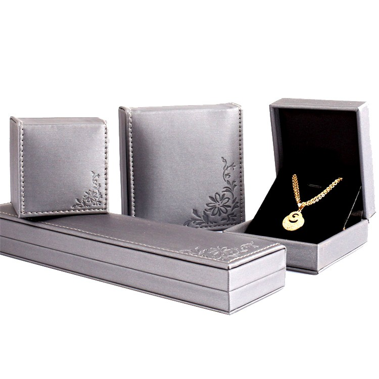 Luxury Premium Handcraft Grey PU Leather Jewelry Gift Box