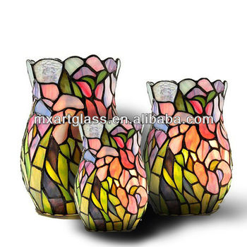Mx170036 2 Wholesale China Tiffany Style Rose Stained Glass Vase For